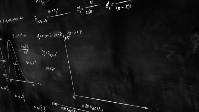 math physics formulas on chalkboard panning loop video