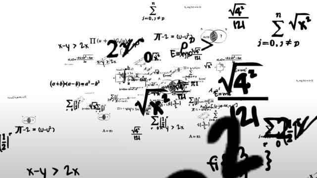 Mathematik-Symbole Weg fliegt durch die Kamera – Video