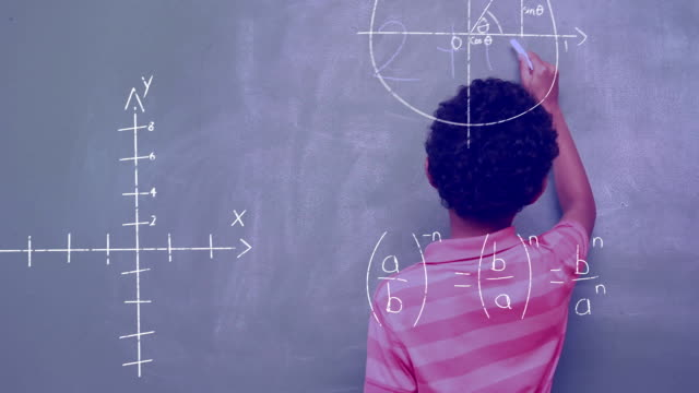 Mathematical equations and boy writing on the board Digital composite of an African-American boy writing on the board while mathematical equations and graph move in the screen mathematics stock videos & royalty-free footage