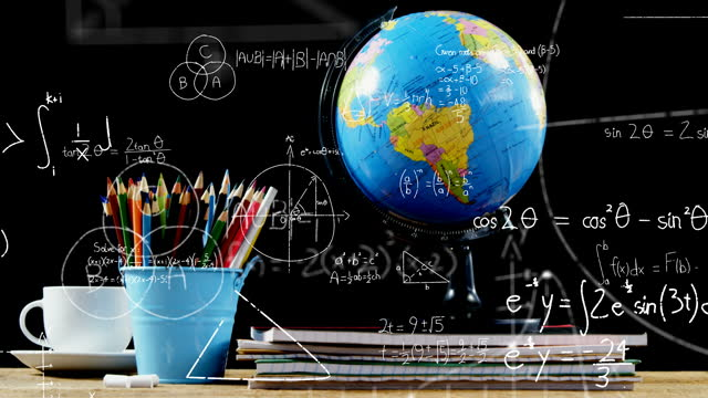 Mathematical equations floating against globe, coffee cup and pencil stand