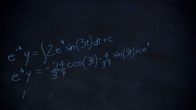 Mathematical equations on chalkboard Animation of layers of mathematical graphs and equations handwritten in blue chalk rising from a dark blue chalkboard background mathematics stock videos & royalty-free footage