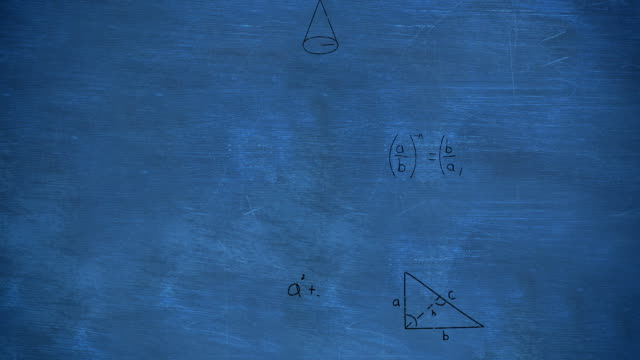 Mathematical equations on chalkboard Animation of zoom out showing mathematical equations and calculations handwritten in black chalk moving on a blue chalkboard mathematics stock videos & royalty-free footage