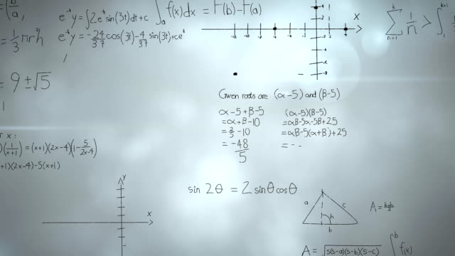 Mathematical equations Digital animation of mathematical equations moving in the screen and background of thunder in the sky mathematics stock videos & royalty-free footage