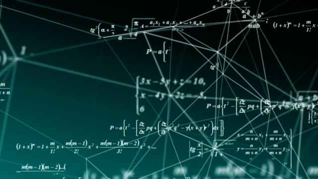 数式は、宇宙、科学、数理研究と開発の概念で移動します。ビデオループ - 化学点の映像素材/bロール