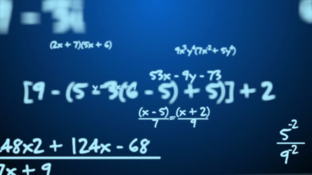 Maths Equation On Blue Background Maths Equation On Blue Background mathematics stock videos & royalty-free footage