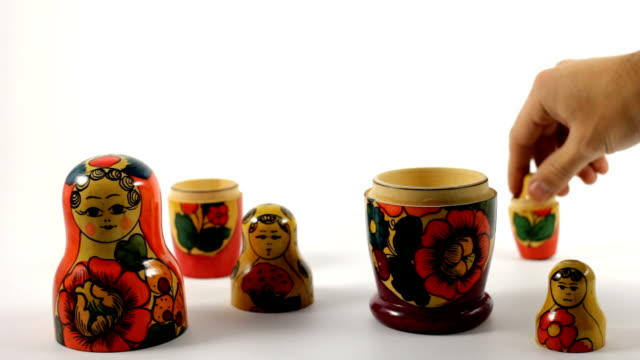 matrioshka Russian souvenir painting art product stock videos & royalty-free footage