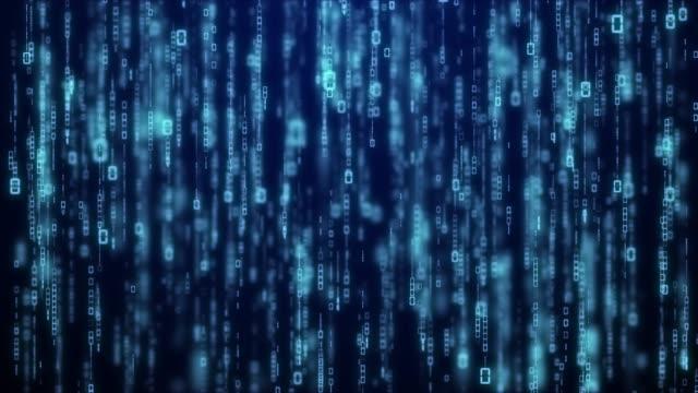 matrix byte of binary data rian code running abstract background in dark blue digital - quartiere generale video stock e b–roll