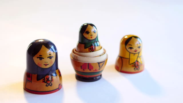 Matryoshka Doll on a white background in FullHD video