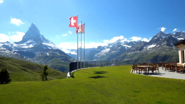 Matterhorn and Swiss Flags