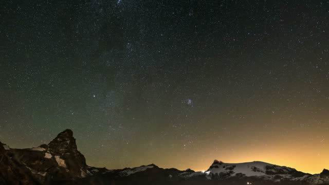 Matterhorn night time lapse starry sky video