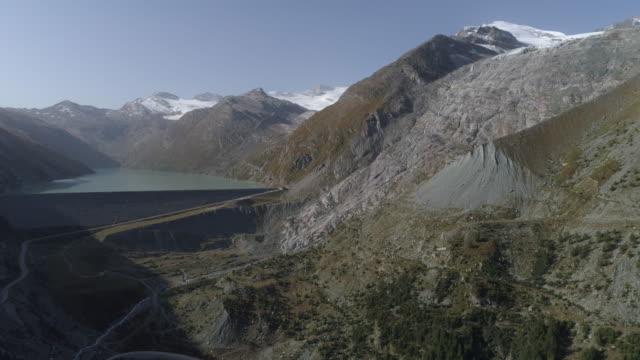 Mattmark dam and Allalin glacier bedrock - Aerial 4K
