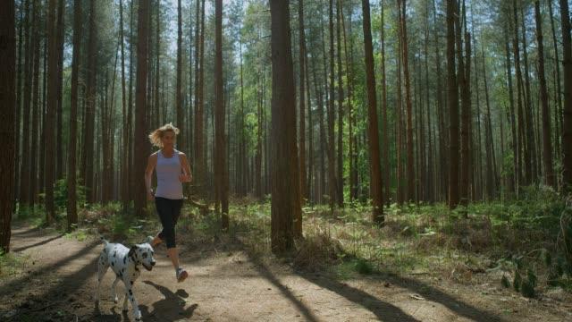 Eine reife erwachsene Frau hält sich mit ihrem Dalmatiner fit durch einen Wald. – Video