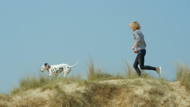 eine reife erwachsene frau, die mit ihrem haustierhund durch dünen läuft. - hundesitter stock-videos und b-roll-filmmaterial