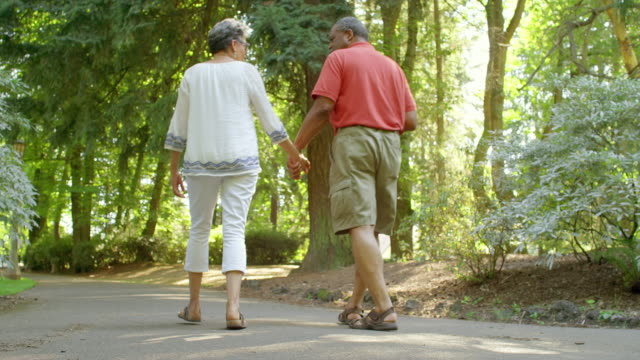 Mature Black Couple Holding Hands while Walking in a Park video