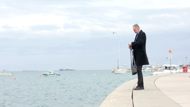 Mature Businessman Stopping on a Pier and Watching Landscape