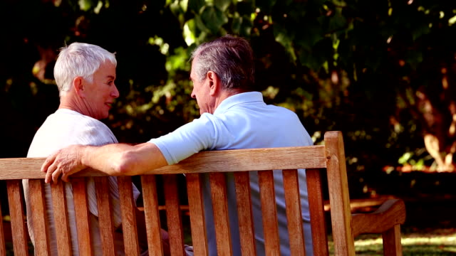 Mature couple discussing together on a bench video