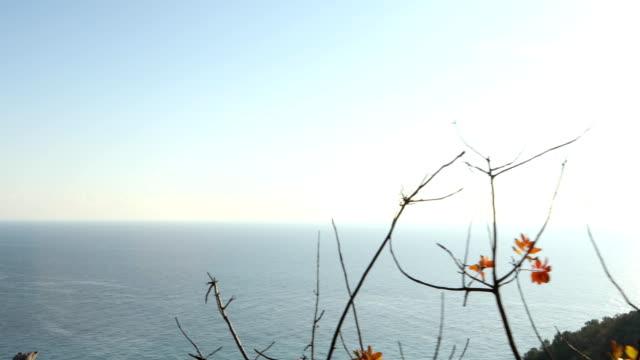 vídeos y material grabado en eventos de stock de pareja explora la cima de la colina sobre el mar mediterráneo - diez segundos o más