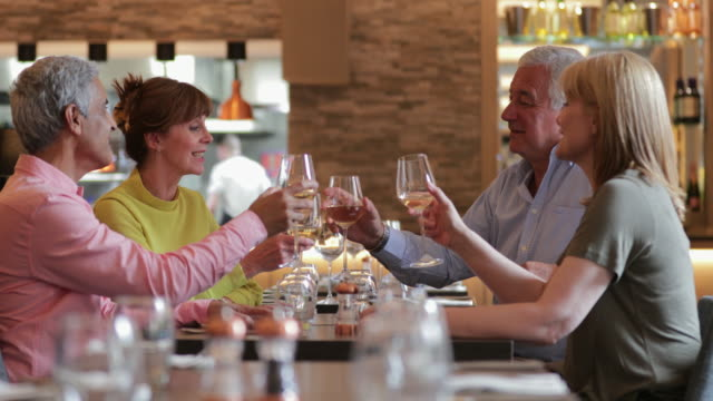 Mature Couples Toasting at Meal