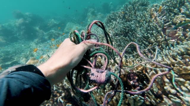Reife weibliche Umweltschützer Taucher entfernen KunststoffVerschmutzung aus dem Ozean Müll-Patch – Video