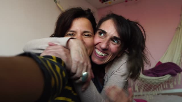 Mature Friends Taking a Selfie At Home - Self Portrait I am connected! lesbian stock videos & royalty-free footage