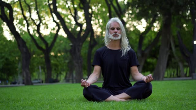 Mature man doing yoga in park Hipster man exercising yoga and meditating in park. long hair stock videos & royalty-free footage