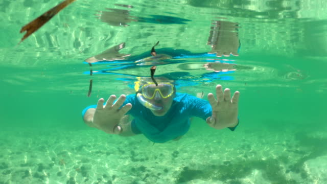 Mature Man Snorkeling and Showing Thumbs Up Mature Man Snorkeling and Showing Thumbs Up. indian ocean stock videos & royalty-free footage