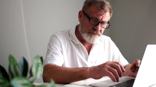 Mature man using a laptop to work at home. Writer or scientist at work. Senior citizen writes a letter using a computer, remote employment, freelance
