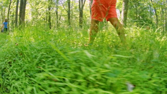 mogen man gå på ett spår i skogen i poconos, pennsylvania, usa i den varma soliga sommardag. - 35 39 år bildbanksvideor och videomaterial från bakom kulisserna