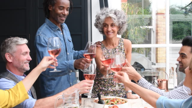 Mature woman and man raising their glasses with group of friends at dinner party video
