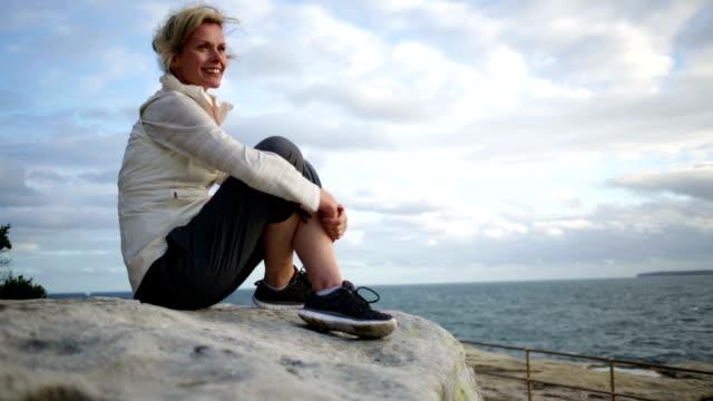 Mature Woman Enjoying Life By the Beach video