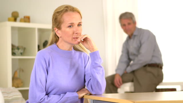 Mature woman feeling doubt video