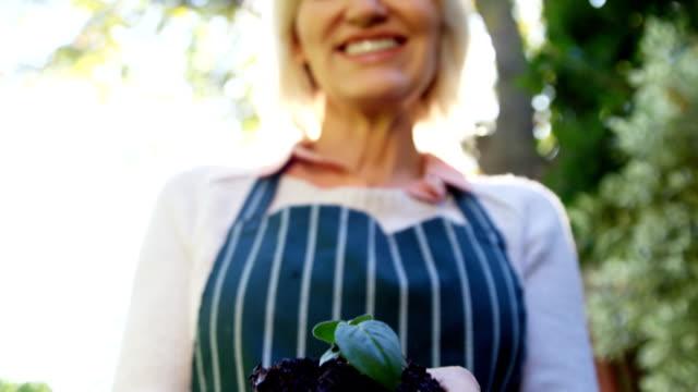 mature woman holding young plant - 50 54 lata filmów i materiałów b-roll