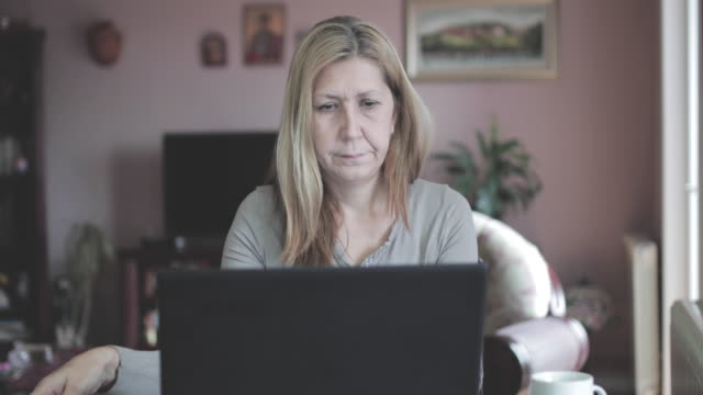 Mature Woman Working At Home video