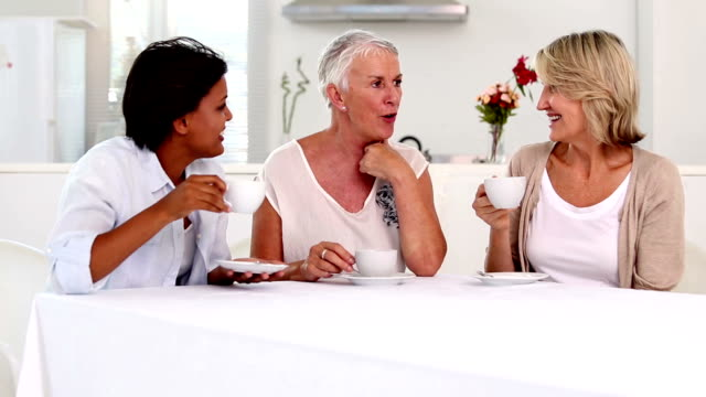 Mature women gossiping during afternoon tea video