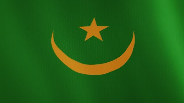 Mauritania flag waving animation. Full Screen. Symbol of the country video