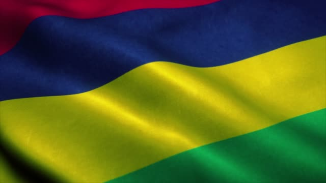 Mauritius flag waving in the wind. National flag of Mauritius. Sign of Mauritius seamless loop animation. 4K