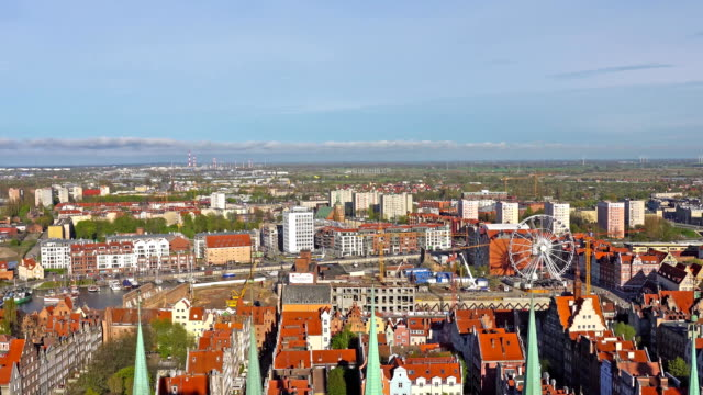 GDANSK, POLAND - May 07 2017: Aerial panoramic view of Gdansk. video