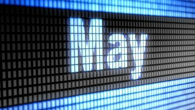 """""""mai"""" auf dem bildschirm. 4k auflösung. looping. - kalender icon stock-videos und b-roll-filmmaterial"""