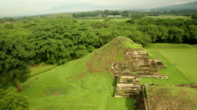 Mayan Pyramids Ruins in El Salvador An aerial shot of San Andres archaeological site in El Salvador. This is an above view of the Mayan Pyramids ruins done with a Drone and a DSLR camera. old ruin stock videos & royalty-free footage