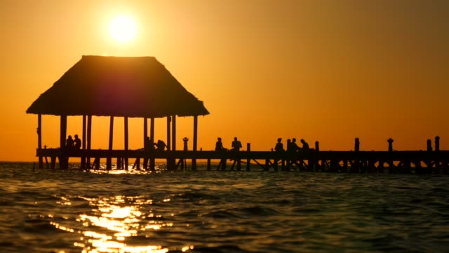 Mayan Riviera palm trees beach sunset at Holbox island in Caribbean sea of Mexico