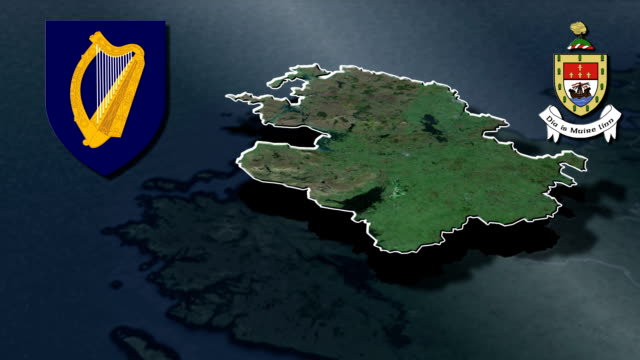 Mayo white Coat of arms animation map Counties of Ireland florida us state stock videos & royalty-free footage