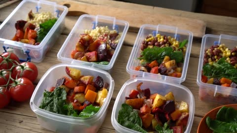 Meal Prep Food Storage Containers. Meal Kit Delivery Service. Healthy eating Meal Prep Food Storage Containers. Meal Kit Delivery Service. Healthy eating container stock videos & royalty-free footage