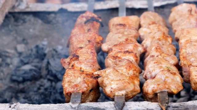 Meat Grilled on Skewers on the Grill on the Street Market. Tasty grilled food. Street food. Roasted meat with crust. Meat Grilled on Skewers on the Grill on the Street Market. Tasty grilled food. Street food. Roasted meat with crust. skewer stock videos & royalty-free footage