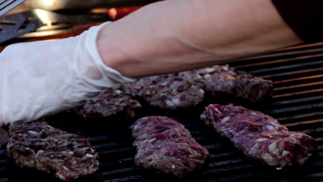 Meat steak prepared on the grill video