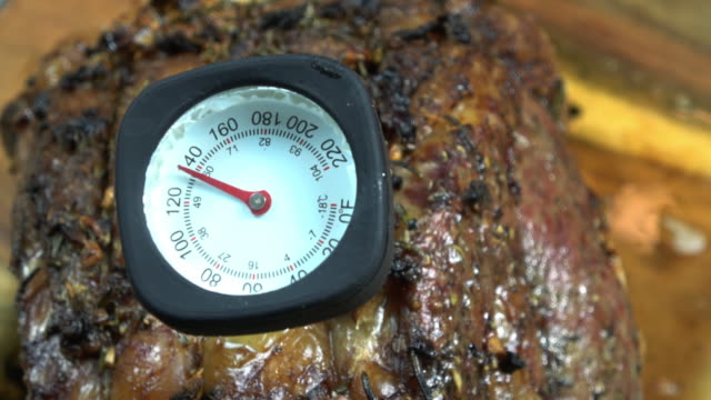 Meat Thermometer in a Prime Rib at 140 degrees. video