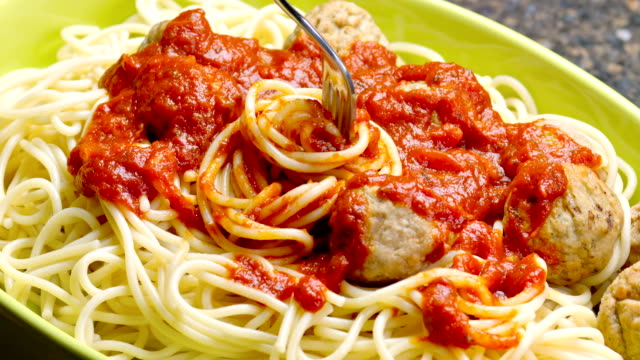 Meatball Spaghetti Serving Meatball Spaghetti with tomato sauce spaghetti stock videos & royalty-free footage