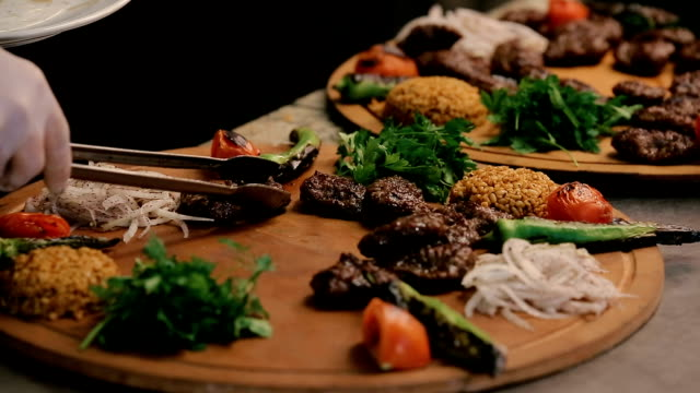 meatballs on big serving plate - spiedino video stock e b–roll