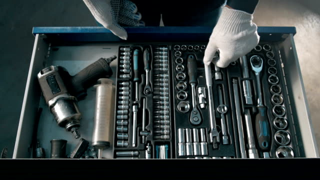 Mechanic open Blue Metal Box with Different Tools for Car Repair at Modern Service station Blue Metal Box with Different Tools for Car Repair at Modern Service station wrench stock videos & royalty-free footage