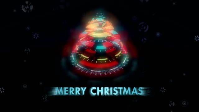 Mechanical abstract Christmas tree animation. Stylized multicolored snowflakes on black background. video