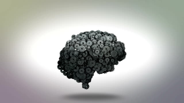 vídeos de stock e filmes b-roll de mecânico mecânica cogwheel cérebro com lâmpada momento de inspiração - dentes